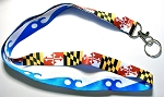 Maryland Flag and Blue Wave Ocean City Double Sided Souvenir Lanyard Design 10