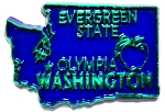 Washington The Evergreen State Blue with Green Lettering Souvenir Fridge Magnet