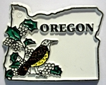 Oregon State Outline with Western Meadowlark Fridge Magnet