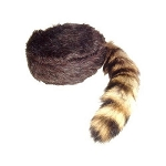 Coon Skin Hat with Fake Coon Tail Design 1