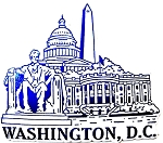 Washington DC Medium Blue and White Fridge Magnet