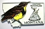 Montana State Outline with Western Meadowlark Fridge Magnet Design 1