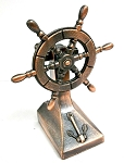 Old Time Ship Steering Wheel Die Cast Metal Collectible Pencil Sharpener Design 1
