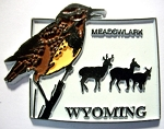 Wyoming State Outline with Meadowlark Fridge Magnet Design 1