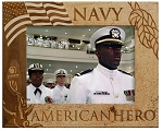 Navy American Hero Laser Engraved Wood Picture Frame