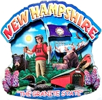 New Hampshire Montage Artwood Fridge Magnet