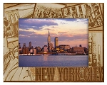 New York City Collage Laser Engraved Wood Picture Frame (5 x 7)