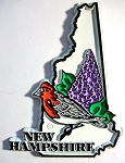 New Hampshire State Outline with Purple Finch and Flowers Fridge Magnet Design 1