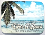 Cancun Mexico Life's a Beach Collage with Palm Tree Fridge Magnet Design 26
