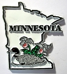 Minnesota State Outline with Common Loon and Flowers Fridge Magnet Design 1