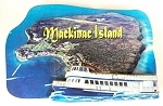 Mackinac Island with Ferry Boat Artwood Fridge Magnet Design 1
