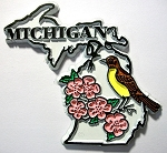 Michigan State Outline with American Robin and Flowers Fridge Magnet Design 1