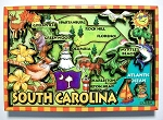 South Carolina Cartoon Map Fridge Magnet Design 27