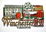 Historic Winchester Virginia with Apple Blossoms Fridge Magnet Design 27