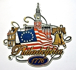 Philadelphia Pennsylvania 1776 with Flag Fridge Magnet Design 27