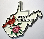 West Virginia State Outline with Cardinal and Flowers Fridge Magnet Design 1
