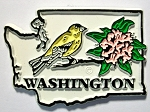 Washington State Outline with Goldfinch and Flowers Fridge Magnet Design 1