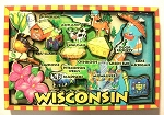 Wisconsin Cartoon Map Fridge Magnet Design 27