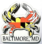 Baltimore Maryland Flag Crab Shaped Artwood Fridge Magnet Design 10