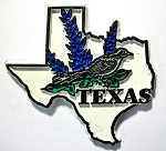 Texas State Outline with Mockingbird and Flowers Fridge Magnet Design 1