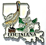Louisiana State Outline with Brown pelican and Flowers Fridge Magnet Design 1