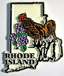 Rhode Island State Outline with Rhode Island Red Fridge Magnet Design 1