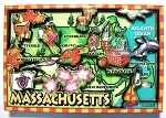 Massachusetts Cartoon Map Fridge Magnet Design 27