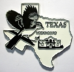 Texas State Outline with Mockingbird Fridge Magnet Design 1