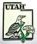 Utah State Outline with California Gull Fridge Magnet Design 1