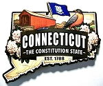 Connecticut  Classic Artwood Jumbo Magnet Design 12