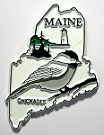 Maine State Outline with Chickadee Fridge Magnet Design 1