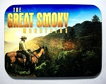 The Great Smoky Mountains with Cowboy at Sunset Photo Fridge Magnet Design 26