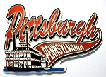 Pittsburgh Pennsylvania with Riverboat Fridge Magnet Design 30