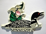 Minnesota with Common Loon and Flowers Fridge Magnet Design 1