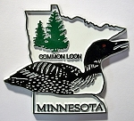 Minnesota State Outline with Common Loon Fridge Magnet Design 1