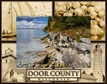 Door County Wisconsin Montage Laser Engraved Wood Picture Frame (5 x 7)