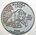 Alaska State Quarter Fridge Magnet Design 13