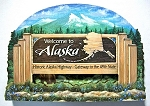 Alaska State Welcome Sign Artwood Fridge Magnet Design 14