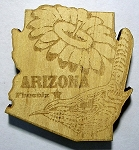 Arizona Laser Etched Wood Fridge Magnet Design 3