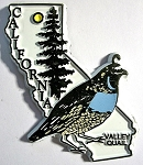 California State Outline with Valley Quail Fridge Magnet Design 1