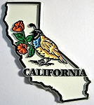 California State Outline with Valley Quail and Flowers Fridge Magnet Design 1