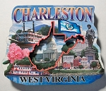 Charleston West Virginia Montage Artwood Fridge Magnet Design 27