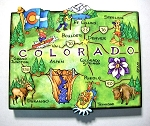 Colorado State Outline Artwood Jumbo Magnet Design 12