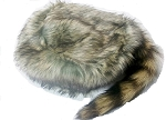 Light Color Coon Skin Hat with Real Tail Design 3