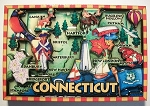 Connecticut Cartoon Map Fridge Magnet Design 27