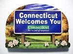 Connecticut State Welcome Sign Artwood Fridge Magnet Design 14