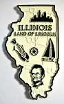 Illinois Land of Lincoln State Map Fridge Magnet Design 2