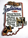 Indiana The Hoosier State Outline Montage Fridge Magnet Design 4