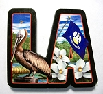 Louisiana Artwood Initial Fridge Magnet Design 19