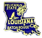 Louisiana State Outline Fridge Magnet Blue/Yellow